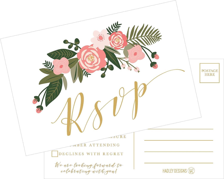 White Envelopes Gold Botanical RSVP Cards RSVP Cards 25 RSVP Wedding Cards Wedding Invitations