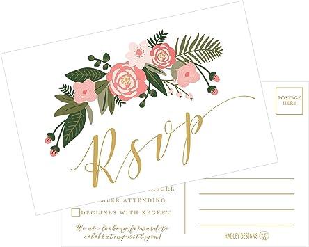 50 x RSVP Cards /& 50 x Reply Envelopes Wedding Invitations Response Cards Bulk
