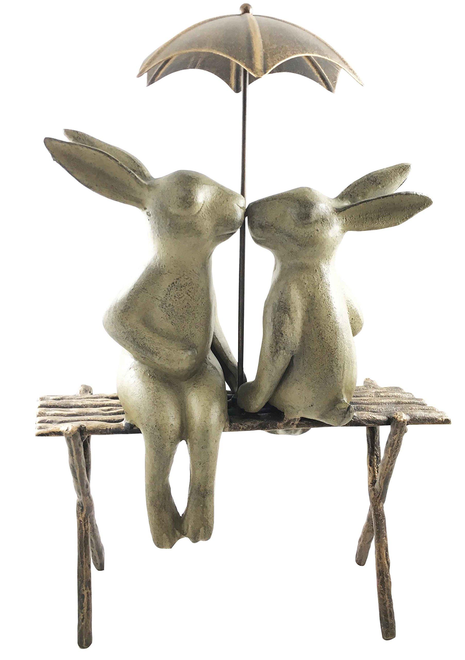 Outdoor Patio Garden Bunny Rabbit Couple Lovers Sharing An Umbrella In The Rain Aluminum Statue