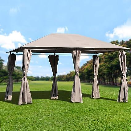 Outsunny Cenador con Techo al Aire Libre Gazebo Pabellón Exterior con Pared Lateral Cenador Carpa de Jardín 4x3x2.64m Marco de Acero para Fiesta Eventos: Amazon.es: Jardín