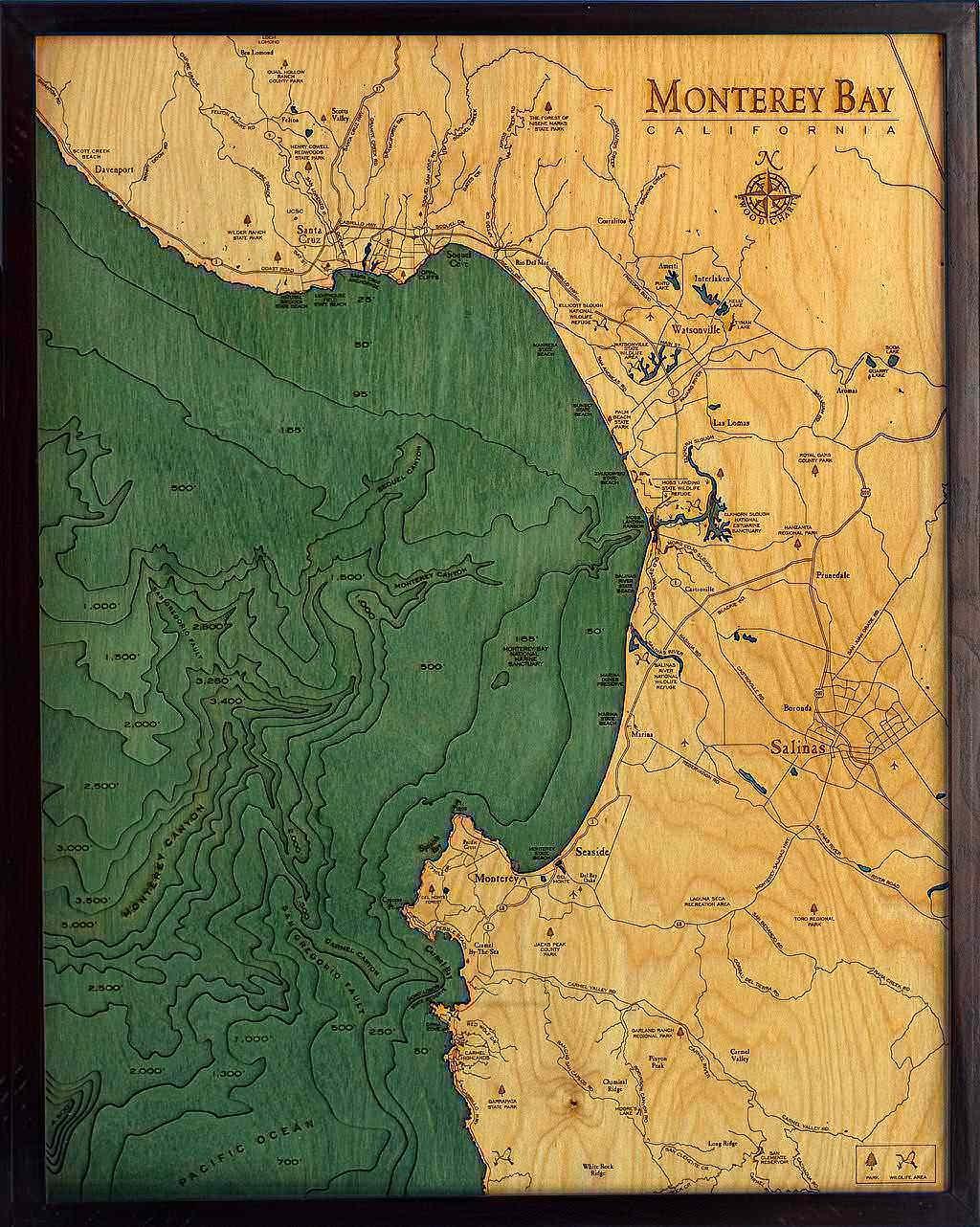Monterey Bay 3-D náutico madera tabla 24,5 x 31: Amazon.es ...