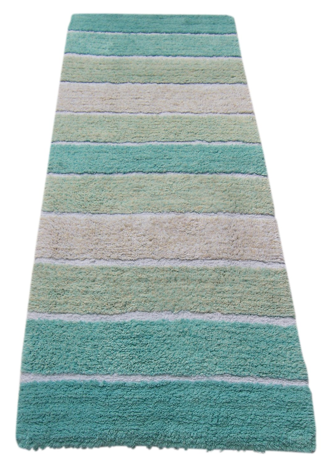"Chardin home Cordural Stripe Bath Runner, Turquoise with Latex Spray Non-Skid Backing, 24"" W x 60'' L - Large oblong 24 inch x 60 inch plush & soft bath rug to decorate your bathroom Plush & super absorbent cotton pile for long lasting life Superior high quality 100% pure cotton bath rug with anti-skid spray latex back - bathroom-linens, bathroom, bath-mats - 81w4hr0%2Bz3L -"