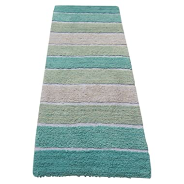 Chardin home Cordural Stripe Bath Runner, Turquoise with Latex Spray Non-Skid Backing, 24  W x 60'' L