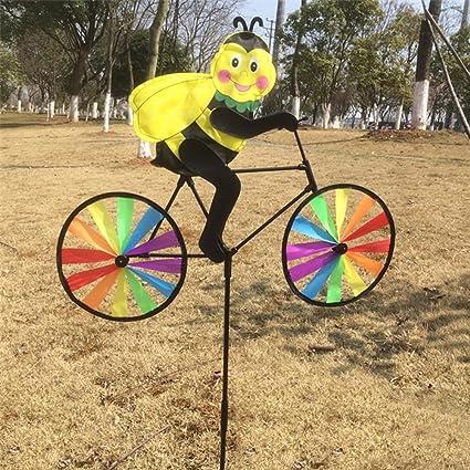 Girouette moulin à vent 3D Dairyshop, animal sur vélo, pour pelouse, cour  ou jardin, décoration de maison