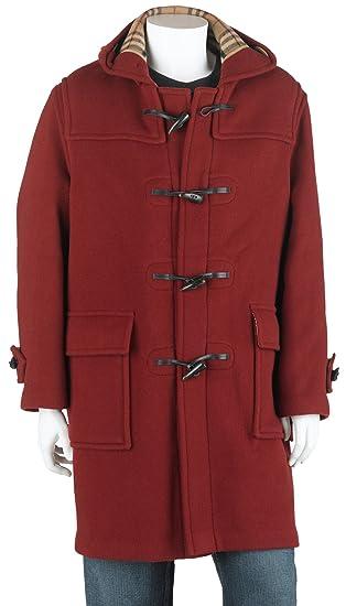 9789de13d7e6 BURBERRY Men's Full Length Wool Duffle Coat with Hood, Burnt Red at ...