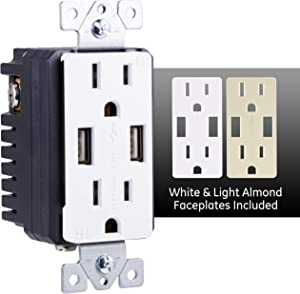 GE UltraPro Tamper Resistant 24W Dual USB Receptacle, For iPhone 11 Max/XS/XR/X/8, iPad Pro, Samsung Galaxy, Changeable Faceplates, White/Light Almond, Wallplate not included, 40405, 1 Pack