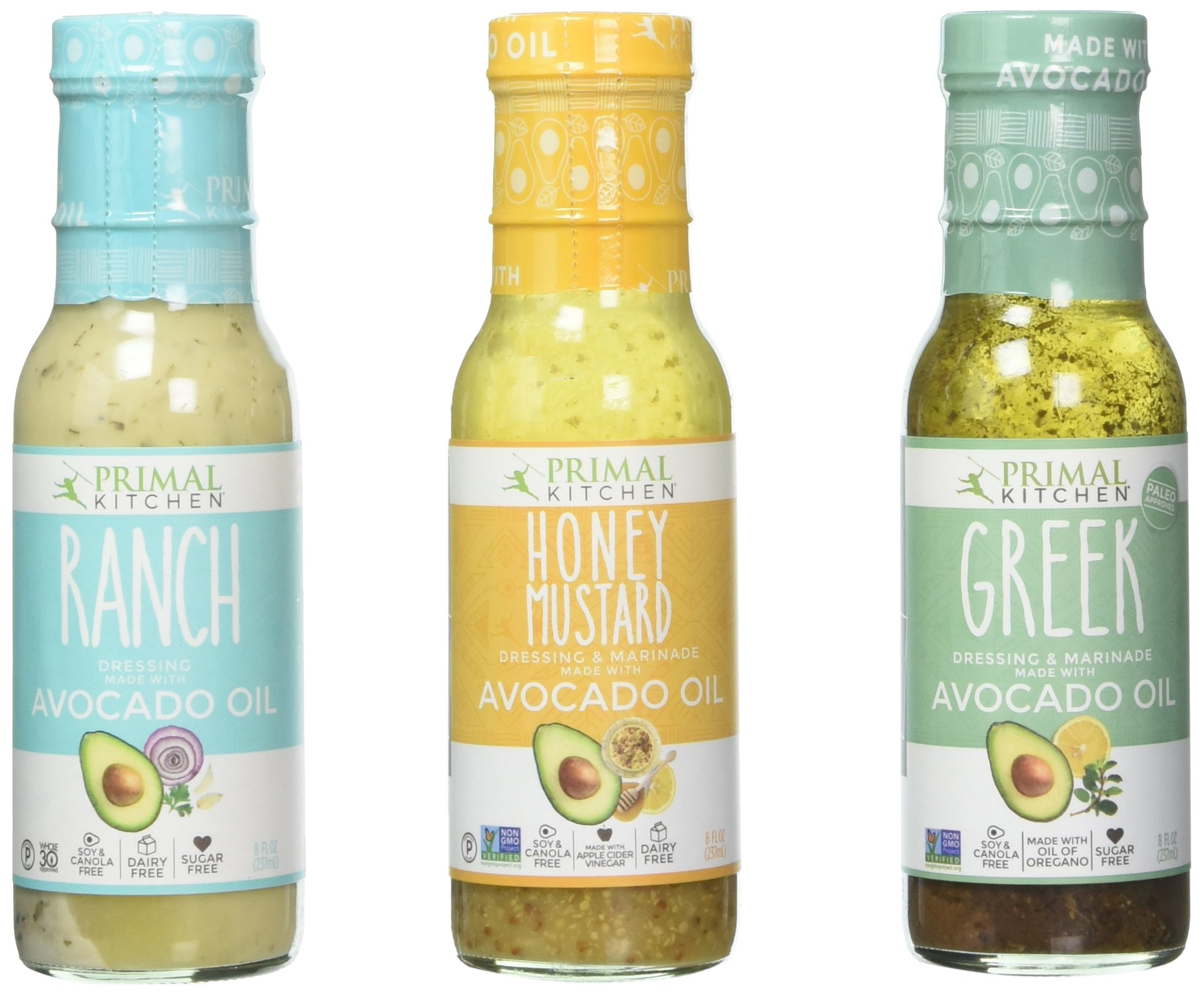 Primal Kitchen Avocado Oil 3 Pack Dressing and Marinade: Ranch, Greek, and Honey Mustard (8 oz each)