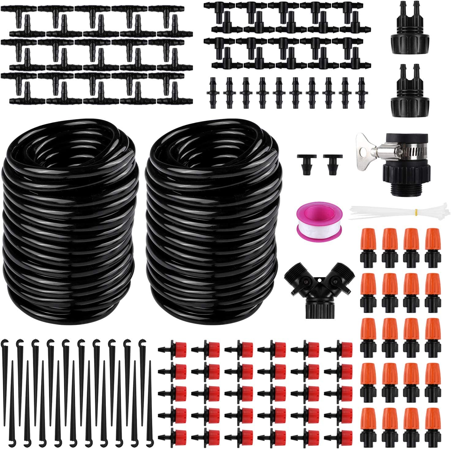 Buluri 98ft/30m Drip Irrigation Kits-DIY Irrigation System with Adjustable Nozzle,Automatic Micro Irrigation Tubing Kits, Water-Saving Sprinkler System for Greenhouse, Raised Flower Bed, Patio