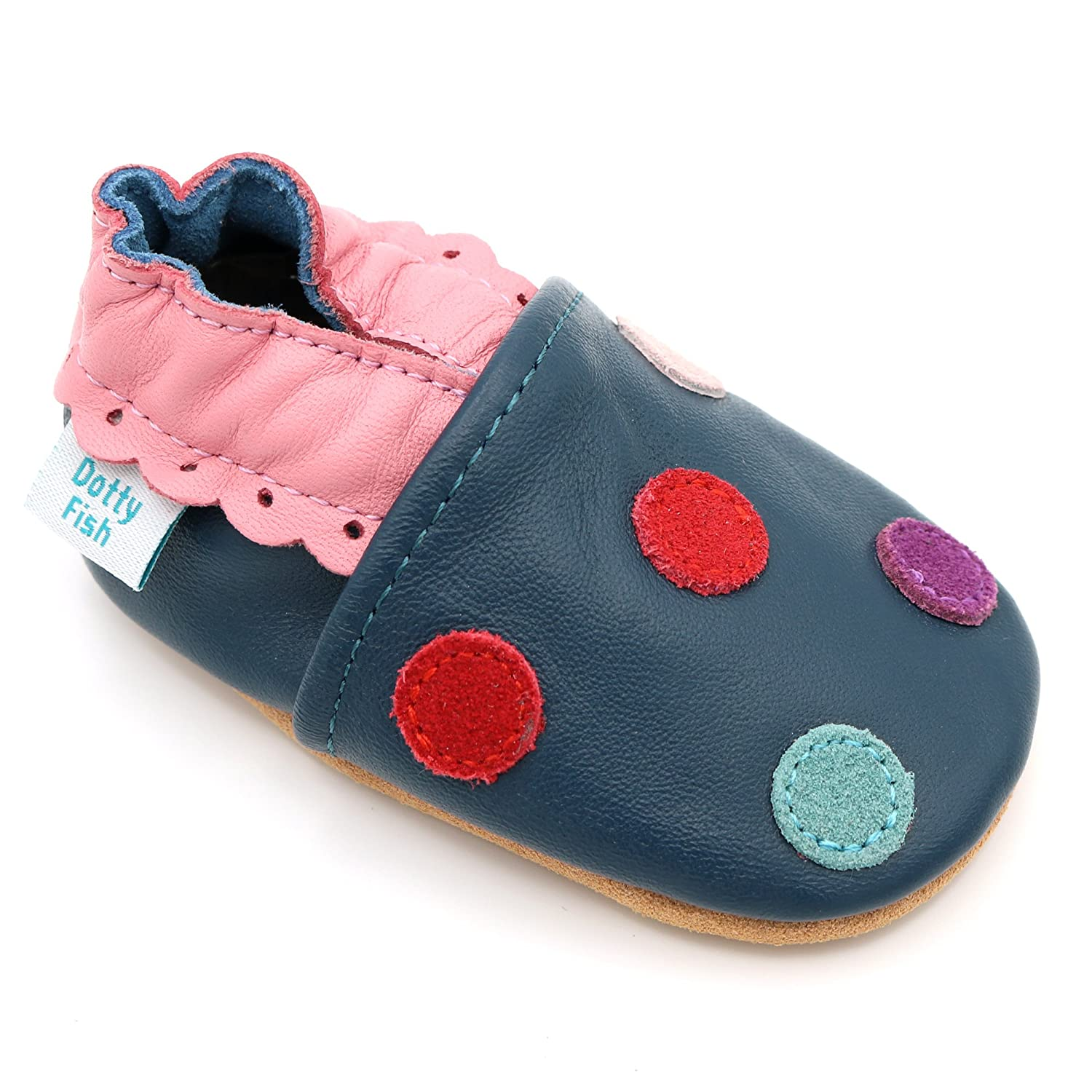 Dotty Fish Soft Leather Baby Shoes. Toddler Shoes. Girls. Multi-Coloured Spotty Designs. Newborn to 4-5 Years FBA-NAVYSPOT-P