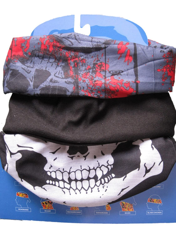 3er Pack) Halsrohr , Schwarz / Grau Skull & Rot / Jaw
