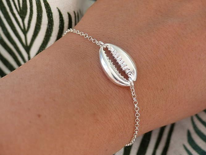 Bracelet cauri argent , Bracelet chaine argent 925 , Coquillage argent  massif , Bracelet coquillage cauri