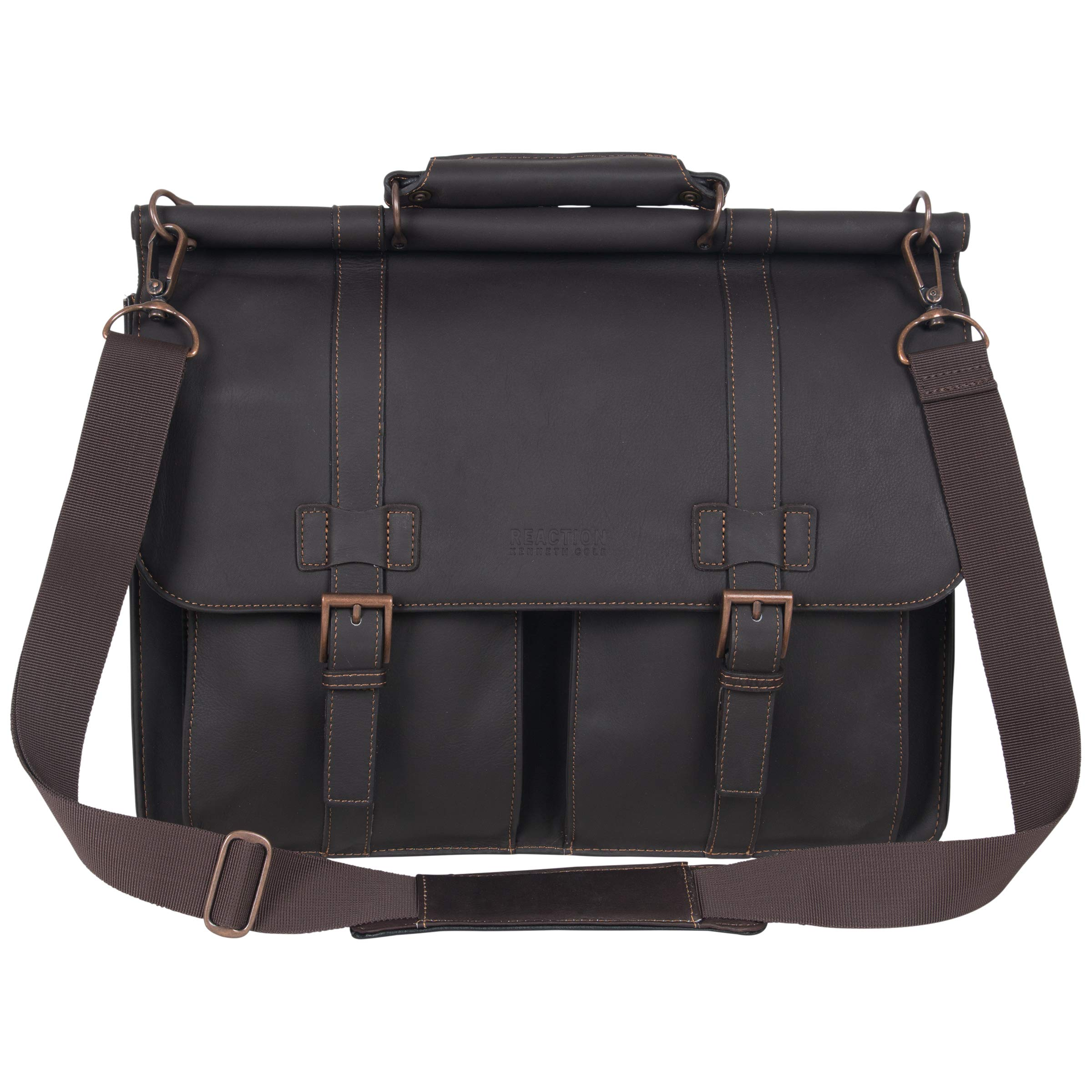 Kenneth Cole Reaction Colombian Leather Dual Compartment Flapover 15'' Laptop Dowelrod Business Portfolio, Brown