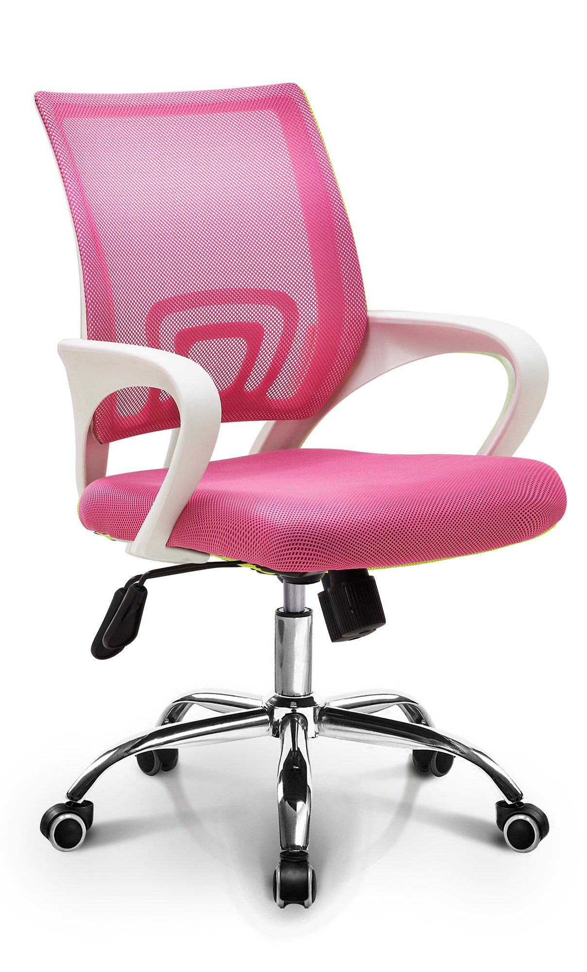 Neo Chair Fashionable Home Office Chair Conference Room Chair Desk Task Computer Mesh Chair : Ergonomic Lumbar Support Swivel Adjustable Tilt Mid Back Wheel (Fashion Mesh Pink) by Neo Chair