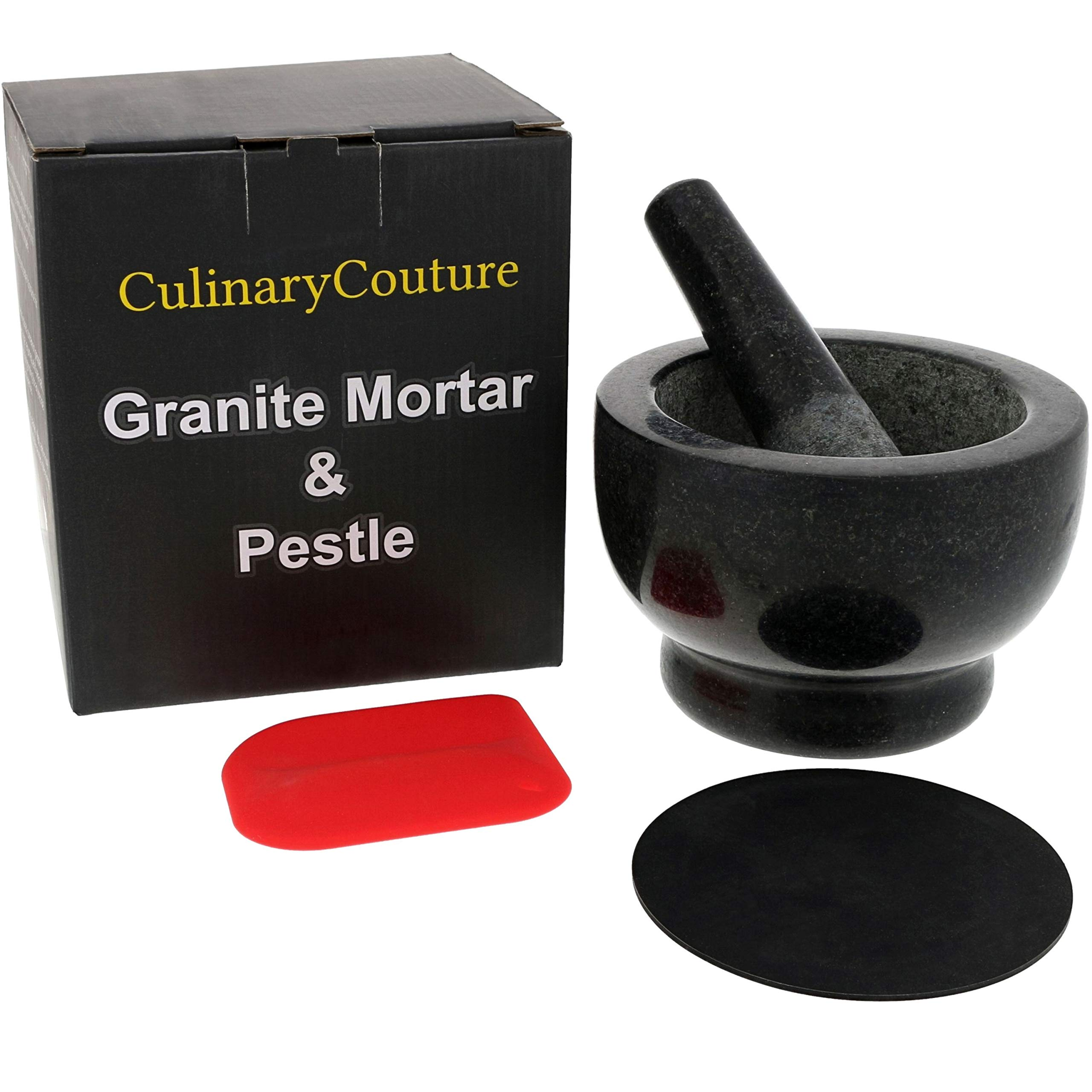 Granite Mortar and Pestle Set - Molcajete - Guacamole Bowl With Polished Exterior, Stylish Dark Grinder And Crusher - WITH Silicone Mat & Scraper by Culinary Couture