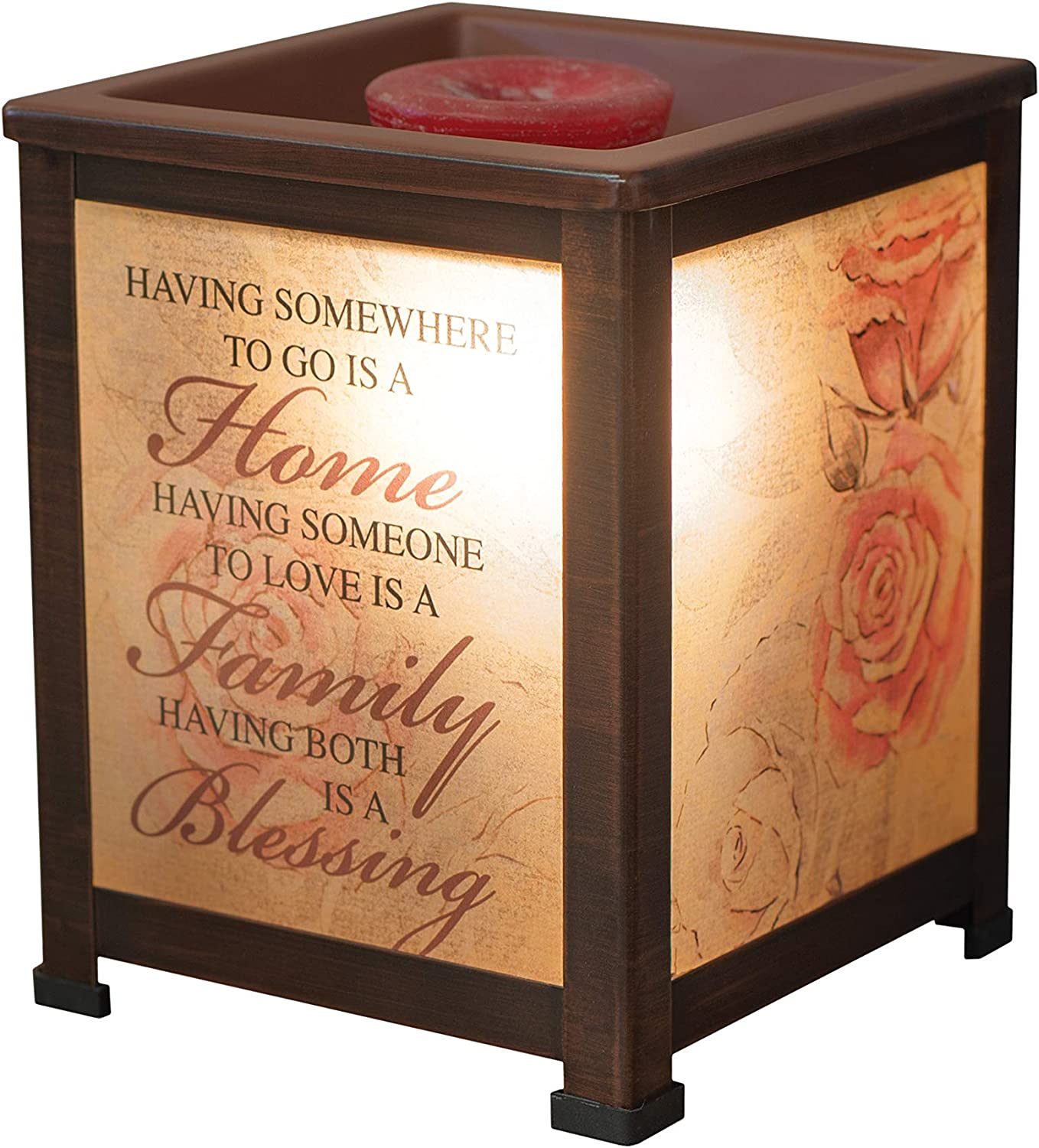 Elanze Designs Home Love Family Blessing Roses Copper Tone Metal Electrical Wax Tart & Oil Glass Lantern Warmer