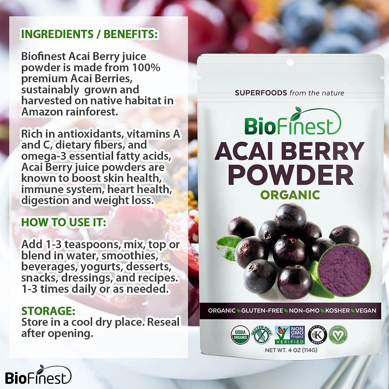Amazon.com: Biofinest Acai Berry Juice Powder - 100% Pure Freeze-Dried  Antioxidant Superfood - USDA Organic Vegan Raw Non-GMO - Cleanse Digestion  Weight ...