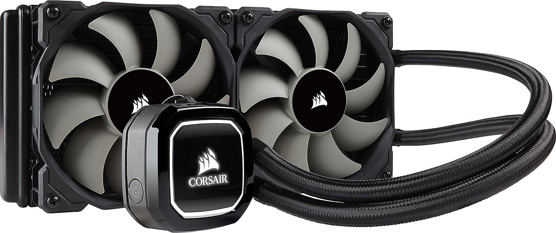 Corsair H100x Hydro Series - Refrigerador líquido para CPU (Radiador de 240 mm, dos ventiladores PWM de 120 mm, LED blanco), Negro