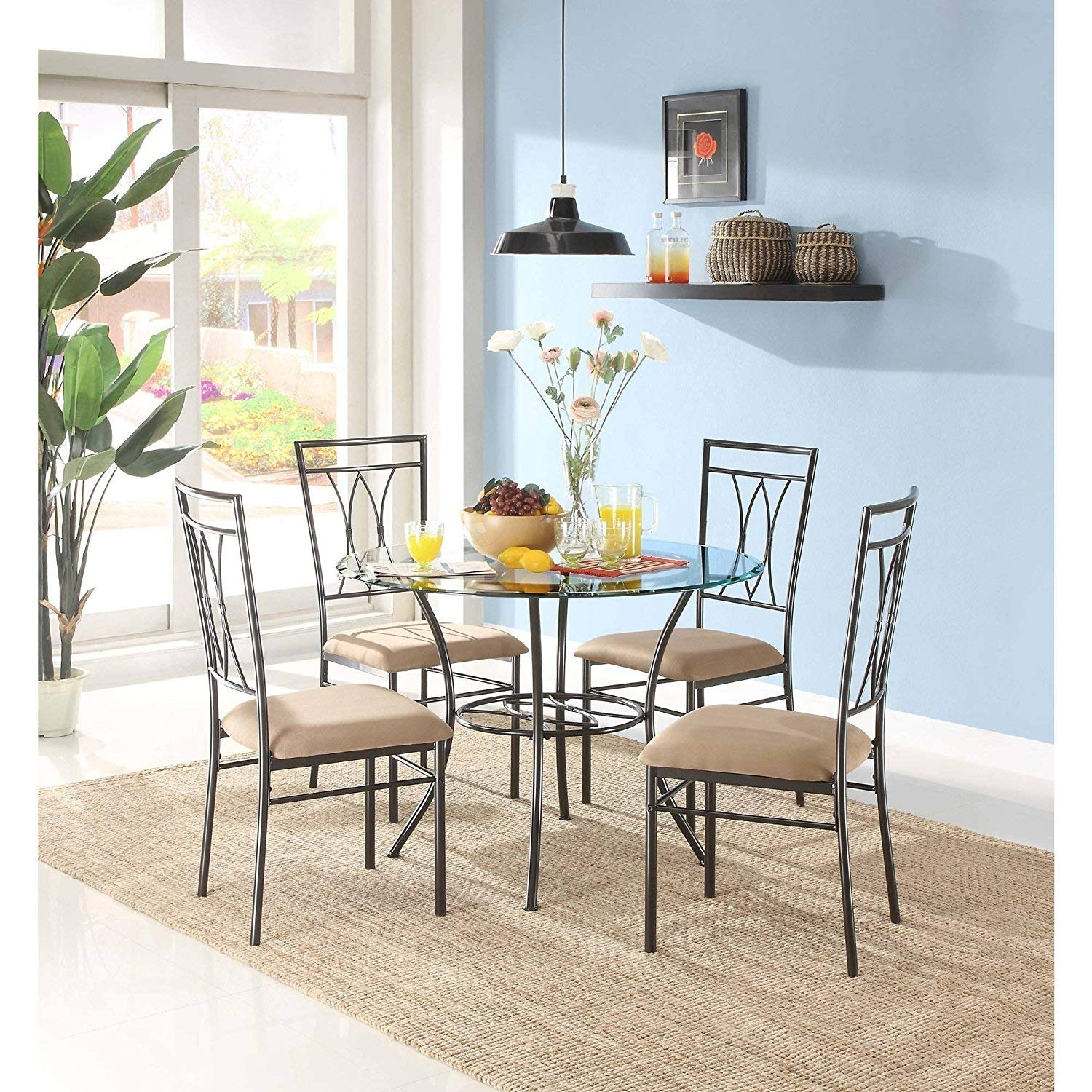 Amazon Com Mss 5 Piece Glass And Metal Dining Set Includes Table