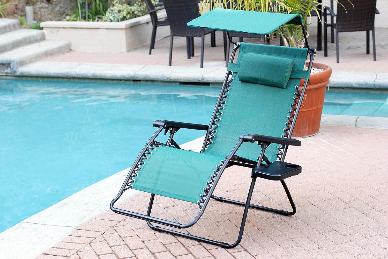 Jeco Green Oversized Zero Gravity Chair with Sunshade