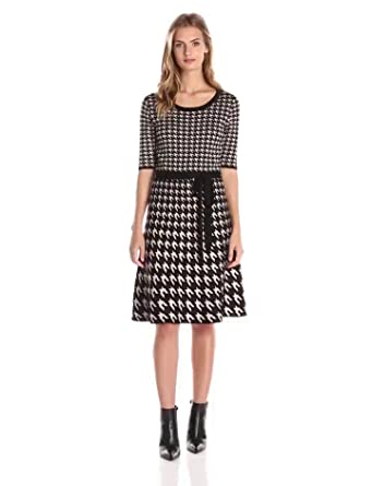 Taylor Dresses Women's Houndstooth Sweater Dress at Amazon Women's ...