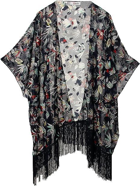 TALLA Talla única. Mujeres Impresión Floral Gasa Kimono - Talla Extra Ligero Elegante Playa Vestido bikini encubrimiento