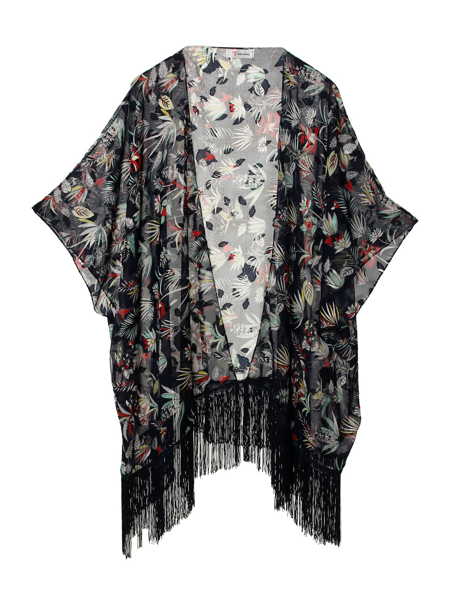 Women's Floral Kimono Cover Up - Lightweight Jacquard Chiffon Beachwear for Bikini,Cardigan and Swimwear (one size, Navy)