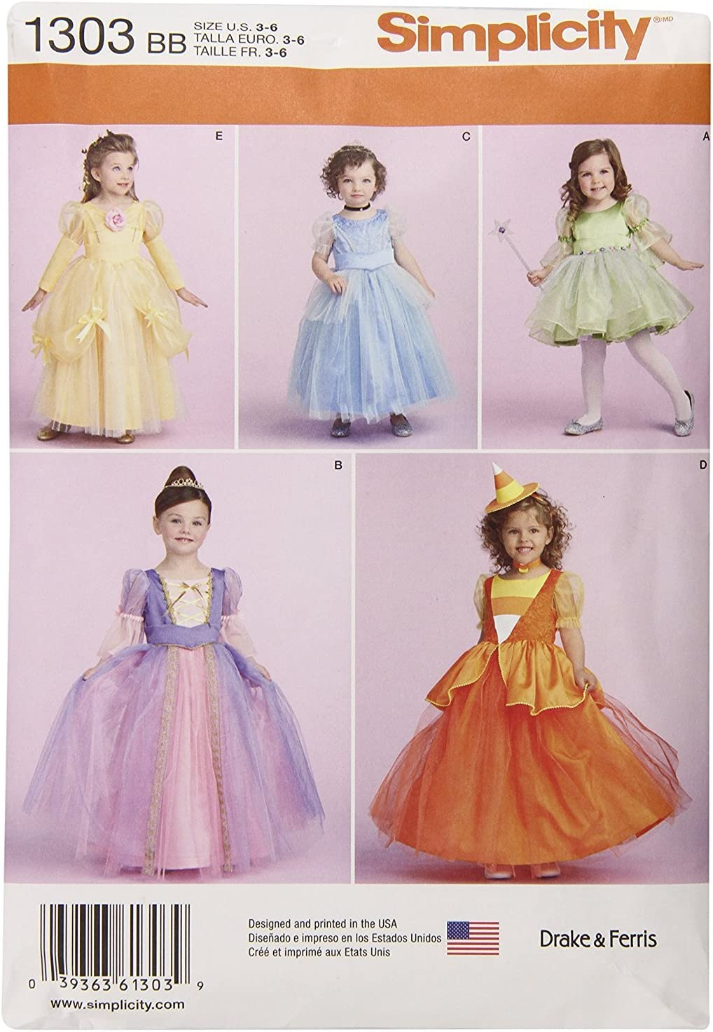 Simplicity SEWING PATTERN 1303 Toddlers//Childs Fairy,Princess,Witch Costumes