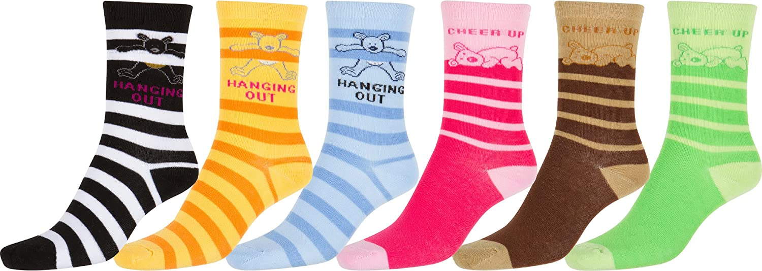 Sakkas Girls Creative Fun Cotton Blend Crew Socks Assorted Color 6-Pack