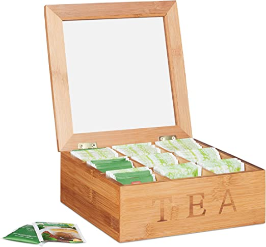 Relaxdays Estuche de bambú para té, Nueve Compartimentos, Cuadrado, Ventana Transparente, Marrón, 8,5 x 22 x 22 cm: Amazon.es: Hogar