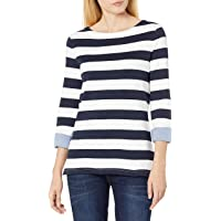 NAUTICA Womens Solids and Stripes Boatneck 3/4 Sleeve 100% Cotton Shirt 3/4 Sleeve Shirt - red - Large