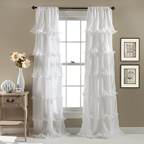 Lush Decor Nerina Curtain Sheer Ruffled Textured Window Panel for Living, Dining Room, Bedroom Single , 84 by 54-Inch, White