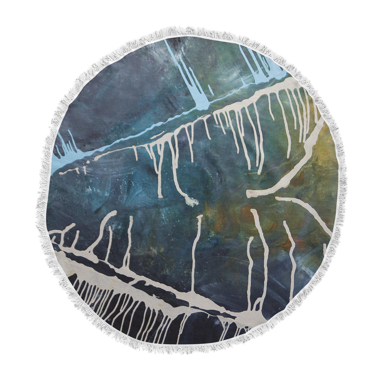 Kess InHouse Steve Dix Busan Tonight Beige Blue Painting Round Beach Towel Blanket