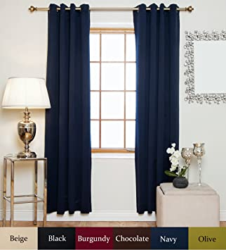 Amazon.com: Navy Antique Brass Grommet Top Thermal Insulated ...