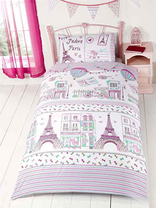 Paris Girls Single Quilt Duvet Cover & Pillowcase Bedding Bed Set ... : eiffel tower quilt cover single - Adamdwight.com