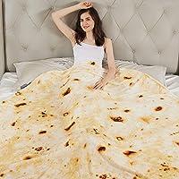 LAGHCAT Burritos Blanket, Tortilla Throw Blanket 47 Inches Burritos Round for Adult and Kids, Flour Tortilla Blanket, Soft Flannel Taco Blanket for Everyone (Burritos-H, 60 inches)