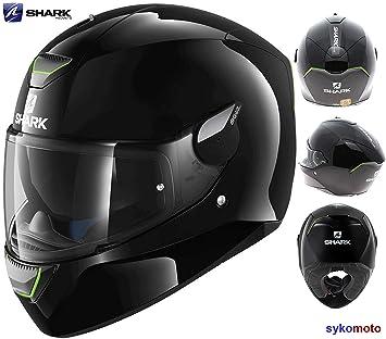 SKWAL SHARK Casco para motocicleta con cierre de rosca completo con luces LED de seguridad,
