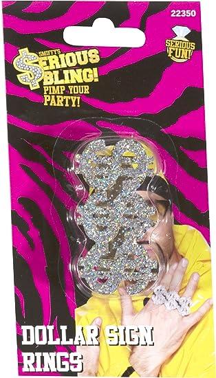 Smiffy's 3-in-1 Dollar Rapper Ring - Silver PBAKTYxCso