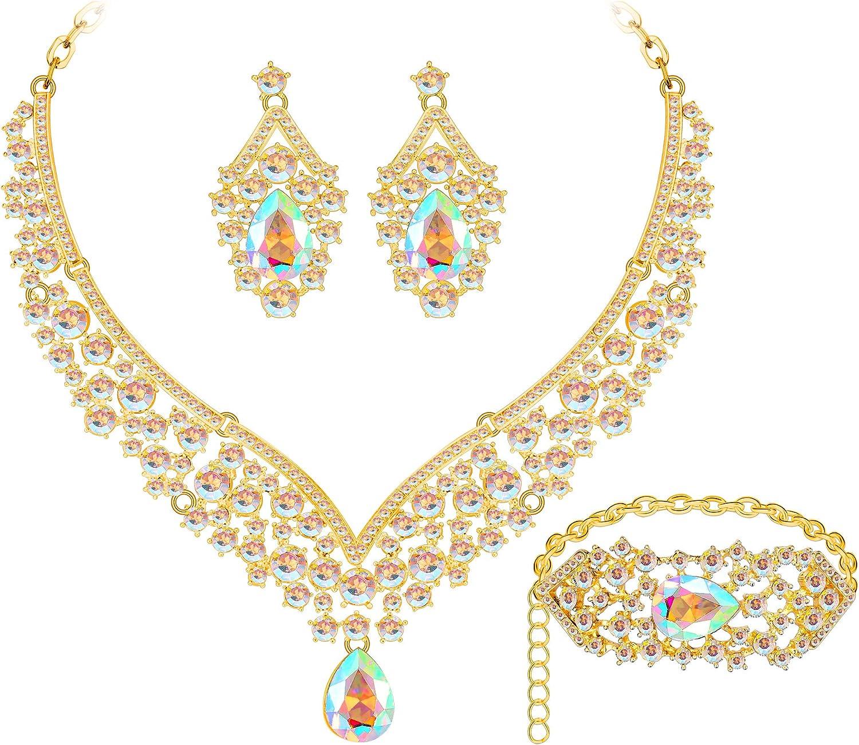 MOOCHI Women's Bridal Jewelry Set for Wedding Silver Plated Austrian Crystal Teardrop Pendant Necklace Earrings Bracelet for Bridsmaid Dress Brides Prom Costume Statement Jewellery