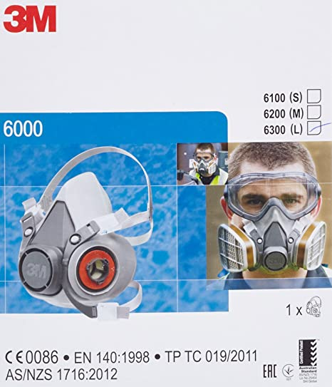 3m Half Reusable Mask Large Face 6300 Safety En Certified