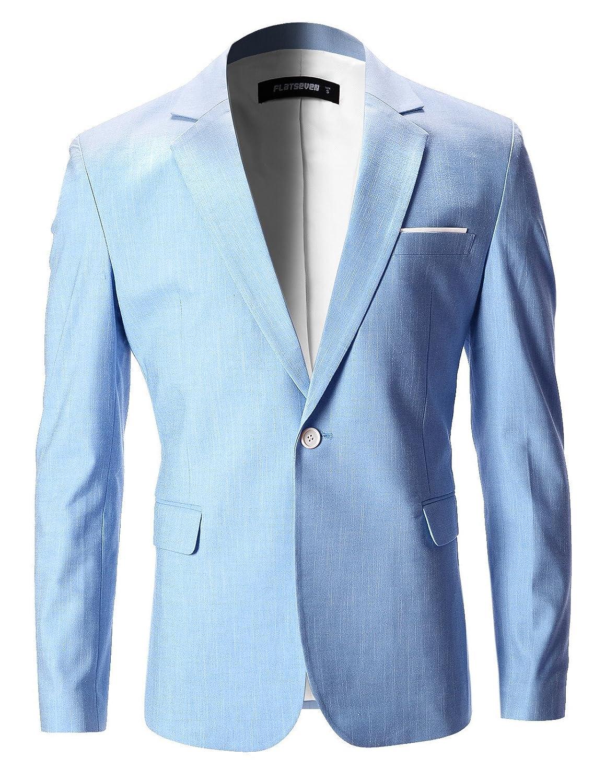 FLATSEVEN Mens Slim Fit Cotton Stylish Casual Blazer Jacket BJ202