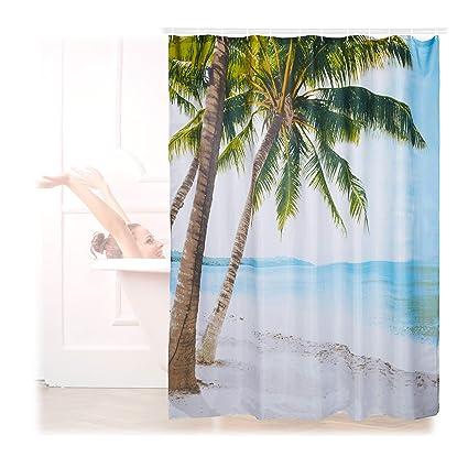 Relaxdays Cortina Baño Lavable con Estampado de Playa, Poliéster, 180 x 180 cm
