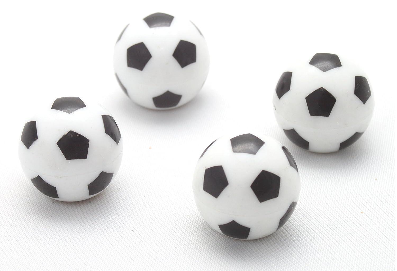 4x Ventilkappen Ball Kugel Fuß ball Fussball soccer football Schwarz Weiss Black Ventilkappe Vfus Ventilkappenkönig