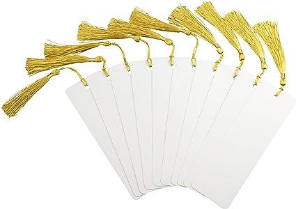 f/ür DIY-Projekte und Geschenkanh/änger Leevia Lesezeichen Wei/ß 96 St/ück 48 Pcs Blank Bookmark+48 Tassels 14 x 5 cm blanko