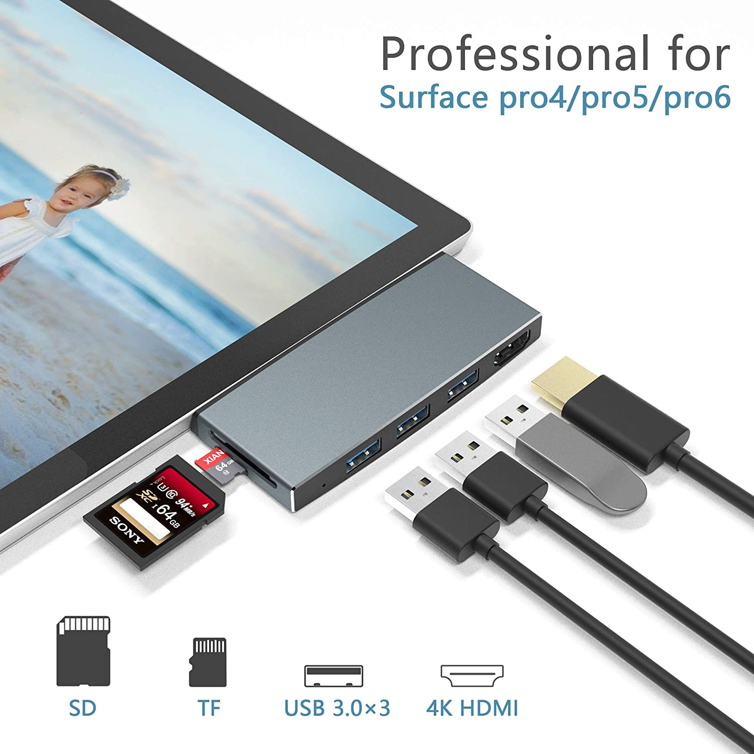 【Upgraded Version】 Surface Pro 4/Pro 5/Pro 6 Docking Station Hub with 4K HDMI Port+3 Port USB 3.0+SD/TF(Micro SD) Card Reader Converter Combo Adaptor for Microsoft Surface Pro 6/ Pro 5/ Pro 4