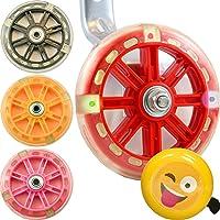 Emoji-Fahrradklingel und Wheels of Awesomeness Bike Stabilisatoren Bundle für Kinder Zyklen–Die LEDs leuchten, wenn die Räder Go, rund, rot, grün und blau für Radfahren Spaß und Sicherheit–NEUE für 2017, rot