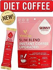 VitaCup Slim Instant Coffee Sticks | Diet & Metabolism | Garcinia & Fiber | Vitamins B1, B5, B6, B9, & B12 | Vegan | Superfo