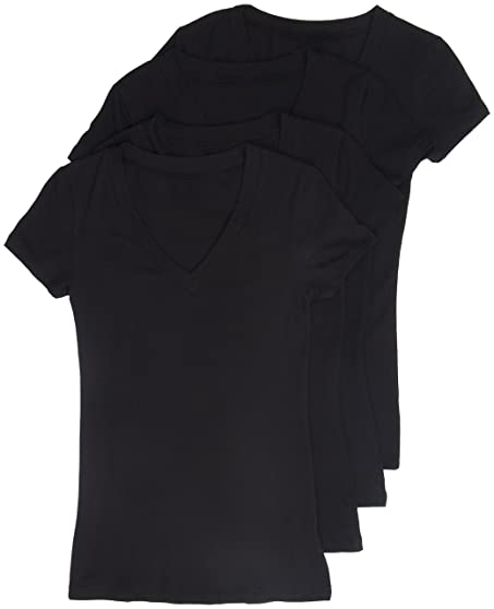 4 pack zenana womenu0027s basic plus vneck tees 1x black black black