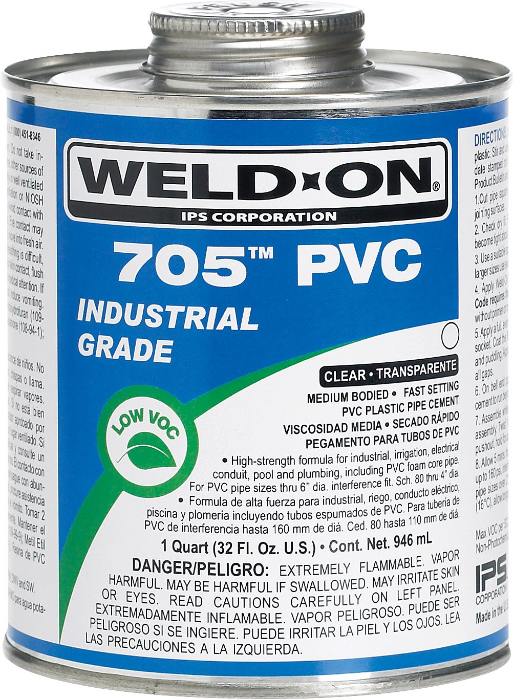 Weldon 705 10089 Industrial Grade Plumbing Cement Medium-Bodied Fast-Setting, 1 Quart, Clear