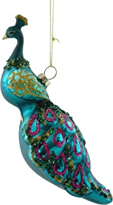 Magnificent Peacock Glitter Glass Hanging Ornament