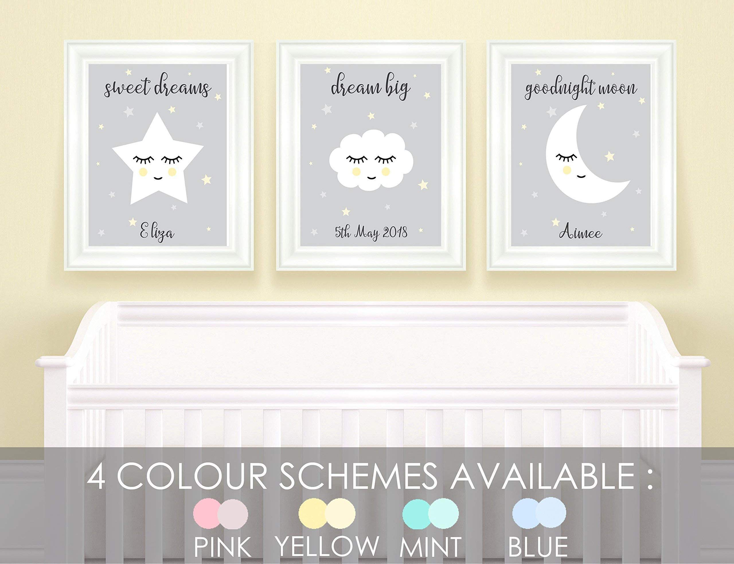 Personalised Nursery Pictures for Wall, Childrens Bedroom Stars Cloud  Nursery Decor Baby Room Prints